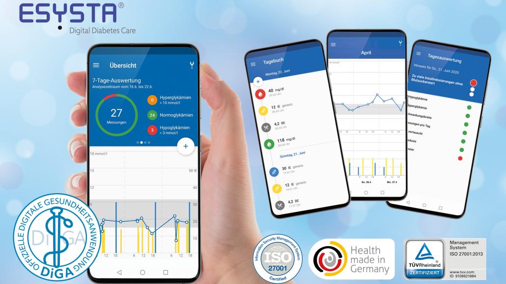 2021-08_ankedesign_ESYSTA App Übersicht-Tagebuch-April-Tagesauswertung (c) emperra